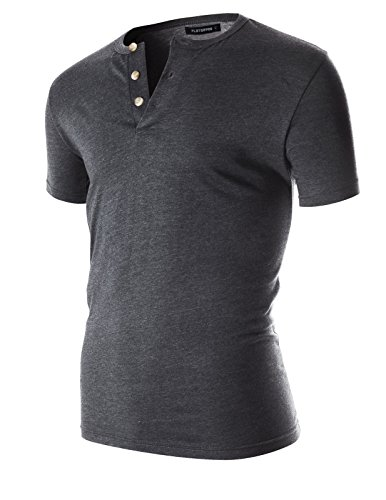 FLATSEVEN Casual Sleeve Henley Button