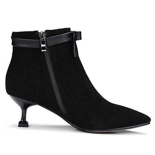 Nio Sju Mocka Kvinna Spetsig Tå Stilett Häl Bowknot Söta Handgjorda Klänning Boots Svart