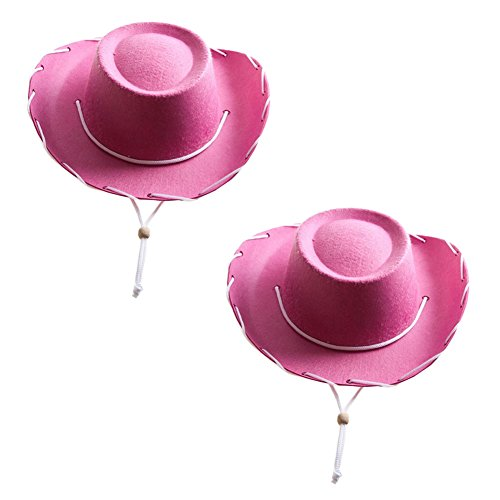 Children's Pink Felt Cowboy Hats (2 Pack) (Pink Cowgirl Costume)