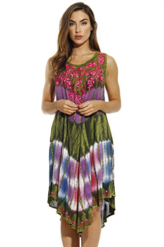 21505-2X Riviera Sun Summer Dresses / Swimsuit Cover Up,Midnight Floral Acid Wash,2X (Midnight Tie Dye)