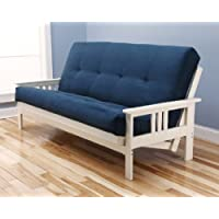 Antique White Finish Victoria Futon Frame w/ Microfiber Suede 8 Innerspring Mattress Sofa Bed Set (Blue)