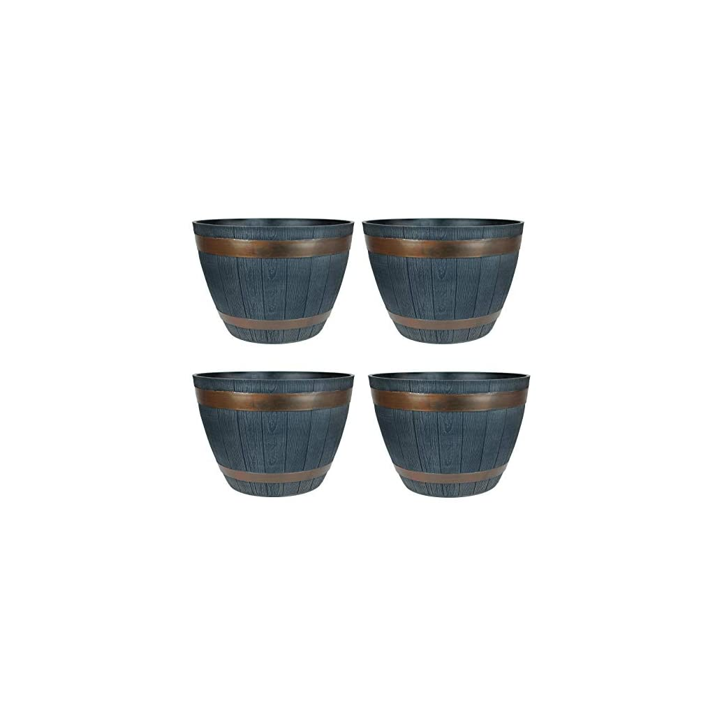 simpa 4 x Rustic Dark Grey Half Barrel Cask Planter Indoor & Outdoor Flower/Plant Pot - 38cm Diameter - Ideal for Plants, Flowers, Gardens, Patios, Conservatories Or Throughout The Home.