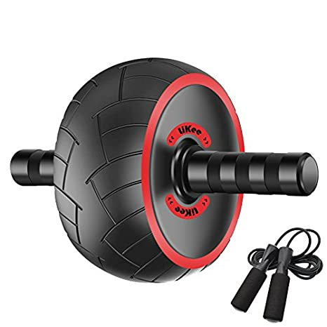 LiKee Ultra Wide Ab Wheel Roller With Knee Pad And Jump Rope Pro Fitness