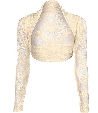 Long Sleeve Lace Shrug Womens Bolero Cropped Cardigan Top (UK 12 ...