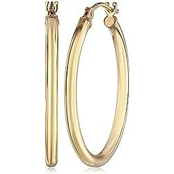 """14k Yellow Gold Round Hoop Earrings (1"""" Diameter)"""