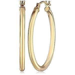 """14k Gold Hoop Earrings, 1"""" Diameter"""