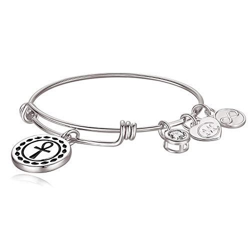 Egyptian Hieroglyphic Ankh Key of Life Faith Charm Bangle Bracelet, Gift for Her