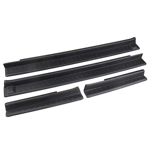 MINGLI Front and Rear Entry Guards Door Entry Sill Plate Protectors For 2007-2016 Jeep Wrangler ()