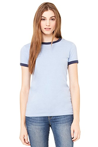 - Bella Ladies Heathered Ringer T - HEATHER BLUE/NAVY - Small