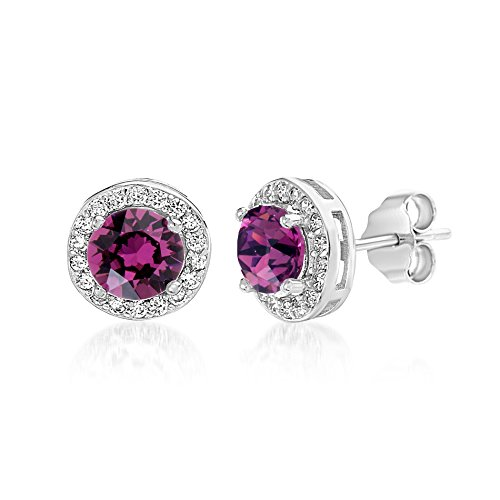 (Devin Rose Round Halo Stud Gift Earrings for Women Made With Swarovski Crystals in 925 Sterling Silver (Amethyst Crystal Imitation February Birthstone))
