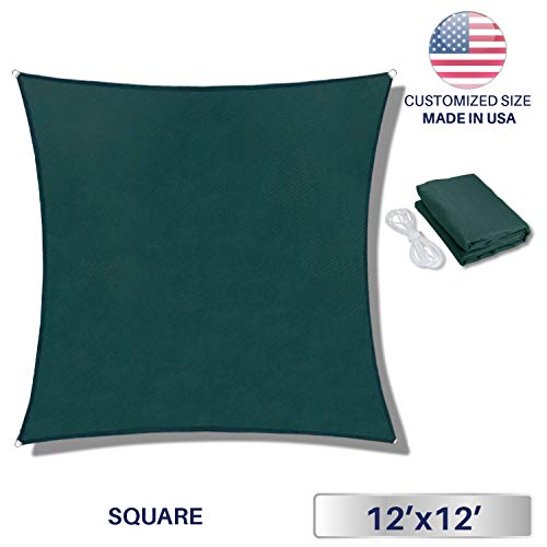 - Windscreen4less 12' x 12' Sun Shade Sail UV Block Fabric Canopy in Green Square for Patio Garden Customized 3 Year Limited Warranty