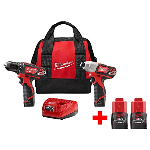 M12 12-Volt Lithium-Ion Cordless Drill Driver/Impact Driver Combo Kit (2-Tool) with Free M12 1.5Ah Battery (2-Pack) (Milwaukee 1 2 Cordless Drill)