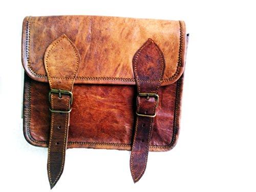 tablets portátiles cm Marron para Hecha a mano 23 de mensajero cartera Bolso cada charger para Bolso día del elegante mujeres hombro Vintage hombres para ipad de cuero 1dOq7