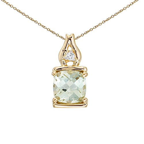 0.80 Carat (ctw) 14k Yellow Gold Princess Green Amethyst and Diamond Women's Framed Solitaire Pendant with 18