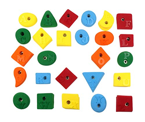 Alphabet Climbing Holds - Alphabet Set (26 Holds With Raised Letters) l Climbing Holds l Mixed Bright Tones