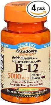 Sundown Naturals Quick Dissolve Methylcobalamin B-12 Microlozenges Cherry Flavor - 90 ct, Pack of 4