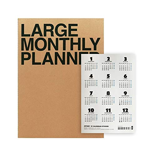 Jstory Large A4 Monthly Planner and 2019 Calendar Sticker Eco Friendly Customizable Set Kraft ()
