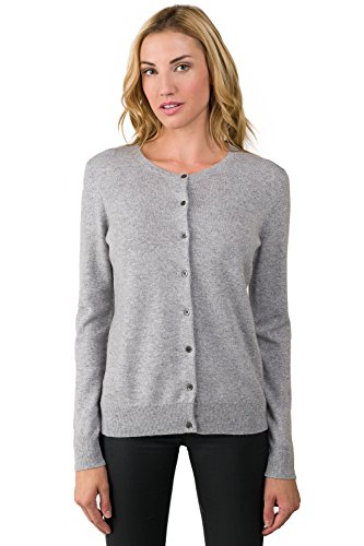 JENNIE LIU Women's 100% Cashmere Button Front Long Sleeve Crewneck Cardigan Sweater (M, Grey)