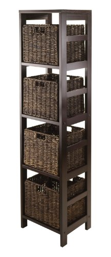 Winsome Granville 5-Piece Storage Tower Shelf with 4 Foldable Baskets, Espresso (Basket Storage Tower)