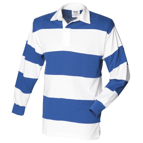 Front Row Sewn Stripe Long Sleeve Sports Rugby Polo Shirt (XXL) (White & Royal (White collar))