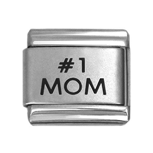 Word #1 Mom Laser Italian Charm Stainless Steel Bracelet Link