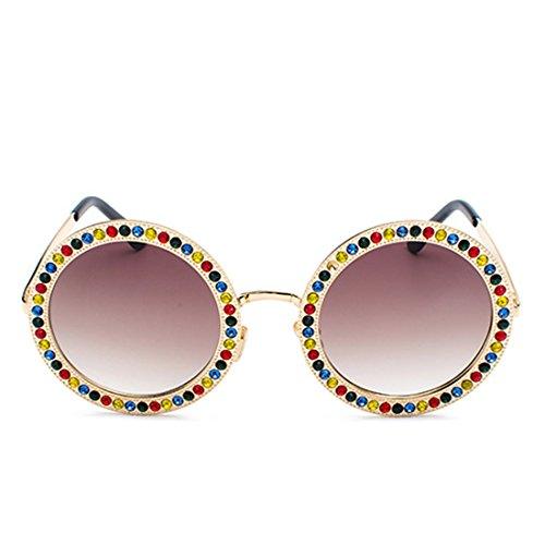 en soleil en de lunettes cadre Mesdames rondes Brun Or polycarbonate métal strass MUCHAO Lens XYTWqzZnww
