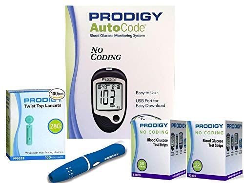 Prodigy Auto Code Diabetes Testing Kit - Prodigy Talking Meter, 100 Prodigy Test Strips, 100 Lancets, Lancing Device, Carry Case, Manual