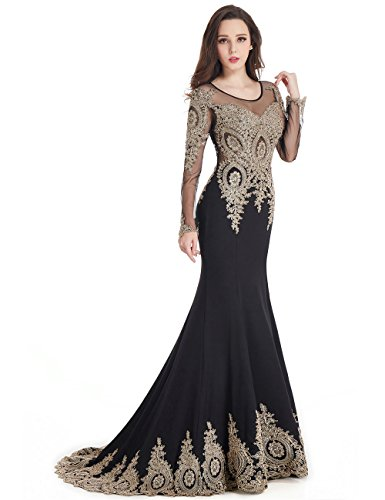 MisShow Black Mermaid Evening Dress for Women Formal Long Prom Dress 2017 by MisShow (Image #4)'