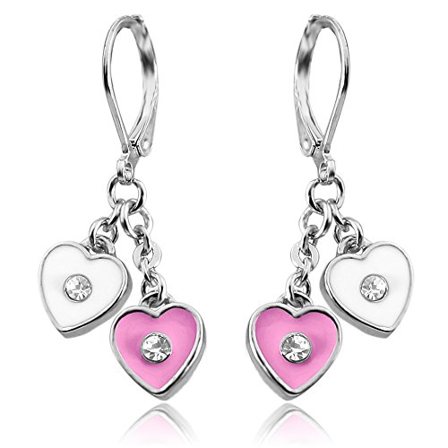 Dangle Earrings for Girls Jewelry With Double Enamel Hearts Rhodium Plated Best Christmas Gifts for Girls Photo #1