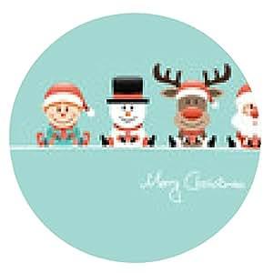 alfombrilla de ratón Tarjeta de Elf, muñeco de nieve, Rudolph, Santa y ángel retro regalo - ronda - 20cm