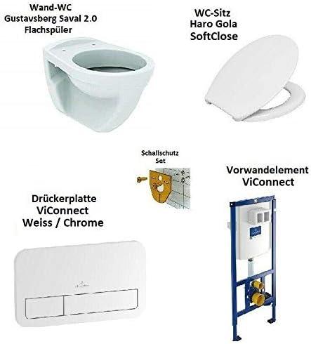 Geberit Vorwandelement Wand WC mit Sitz Betätigung weiß//chrommatt// Edelstahl