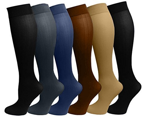 6 Pairs Pack Women Stretchy Spandex Trouser Socks Opaque Knee High (Assorted) (Knee High Womens Hosiery)