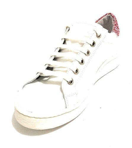 ROVERE DELLA Glitter Rosa Sneaker DS18DR02 Donna Scarpe Cuore Pelle Bianco HqdxAOqwBg