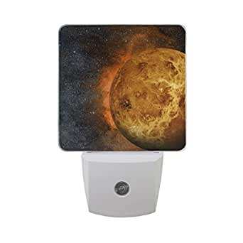 Naanle Solar System Venus Planet Bright Natural Object In Starry Night Sky Galaxy Universe Auto Sensor LED Dusk To Dawn Night Light Plug In Indoor for Adults