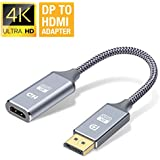 DP to HDMI Adapter, Capshi 4K DP Display Port to HDMI Converter Male to Female Gold-Plated DisplayPort to HDMI Adapter Compatible with HP, HDTV, ThinkPad, Monitor, Projector, Desktop- Grey