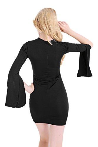 Elegante profundo escote en v hueco de las mujeres Bodycon Vestido
