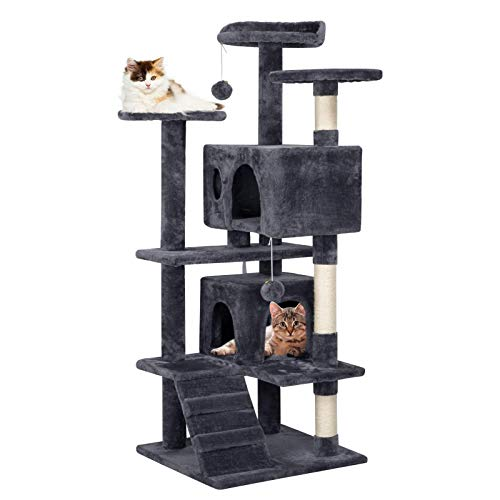 Yaheetech Cat Tree Tower with Sisal-Covered Scratching Posts 3 Platforms 2 Plush House