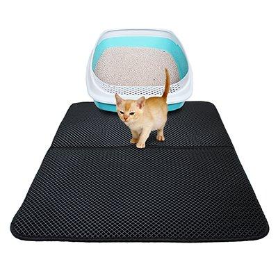 Pinkdose® Black, Foldable 55X70M: Cat Litter Mat Eva Double-Layer Cat Litter Trapper Mats with Waterproof Bottom Layer Kattenmand - Black