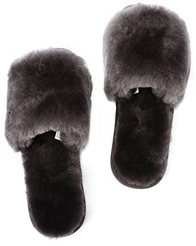 U-lite Dames Winter Warme Knusse Shearling Platte Slipper, Warme Wollen Pantoffels Voor Dames Donkergrijs