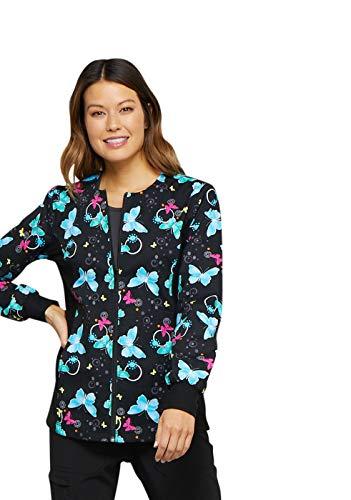 - Cherokee Fashion Prints Women's Zip Front Knit Panel Butterfly Print Scrub Jacket X-Large Print