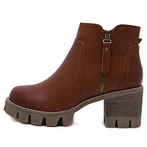 Solid Material Round Toe Kitten Womens Zipper AmoonyFashion Closed Soft Brown Heels Boots BqxSanHw