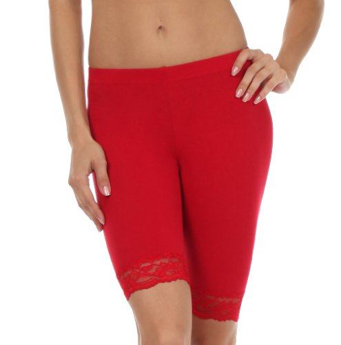 Sakkas 460060 Cotton Lycra Blend Lace Trim Stretch Bike Shorts - Made in USA - Red - - Bike Stretch Short Lycra