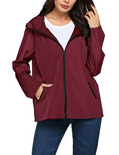 LOMON Fishing Rain Jacket,Women Petite Waterproof Warm Rain Coat Winter(Wine Red,XXL)
