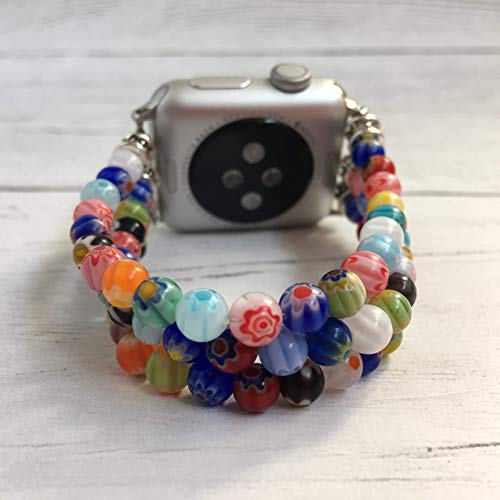 Stacked bracelet style handmade beaded band for Fitbit and Apple Watches (Millefiori Rose)