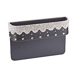Bling Crystal PU-Leather Car Seatside Storage Box
