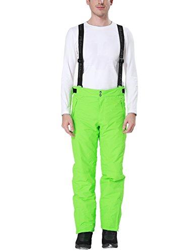 PHIBEE Mens Waterproof Breathable Polyester Outdoor Ski Snowboard Pants Green L (Snowboard Mens Green Pants)