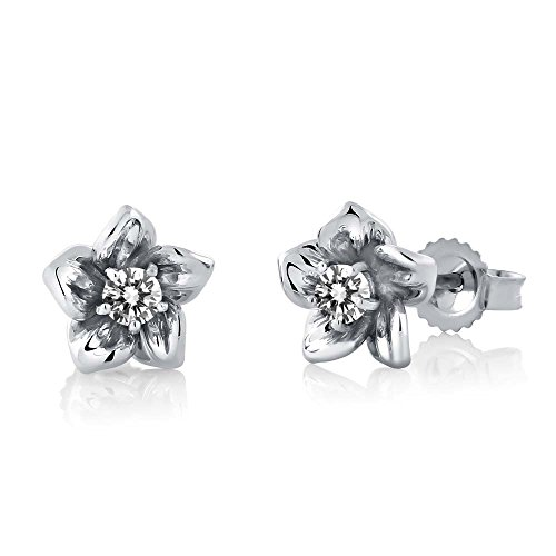 18K White Gold Round White SI1-SI2 Diamond Flower Stud Earrings - Flower 18k White Gold Earrings
