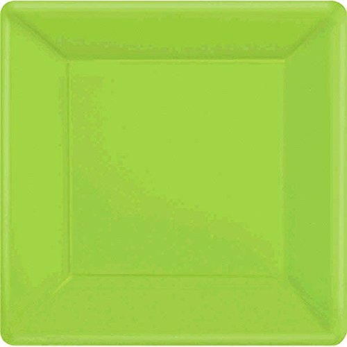 7 Square Dessert Plates (Amscan Disposable Square Party Dessert Plates Tableware, Kiwi Green, Paper, 7