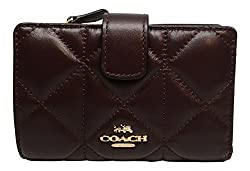Coach Quilted Leather Medium Corner Zip Wallet Oxblood 56573