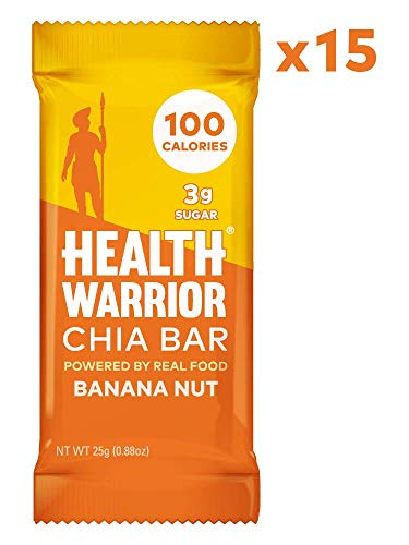 Health Nut - HEALTH WARRIOR Chia Bars, Banana Nut, Gluten Free, Vegan, 25g bars, 15 Count